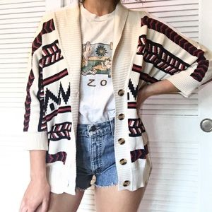 Forever 21 Batwing Aztec Button Up Cardigan